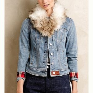 Anthropologie Denim Jacket w Faux Fur Collar